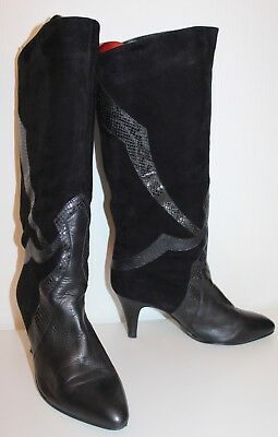 80er 80s Vintage TUE VTG LEDER HIGH HEEL STIEFEL Leather SLOUCH BOOTS 39 UK6  ()