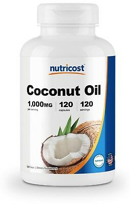 Gluten Free Oils - Nutricost Coconut Oil Capsules (1000mg) 120 Softgels - Gluten Free and Non-GMO