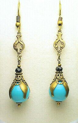 Art Nouveau Art Deco Style Antique Gold Brass Turquoise Black Onyx  Earrings