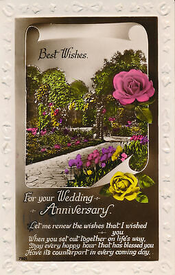 PC85570 Greetings. Best Wishes for Wedding Anniversary. Flower Garden. RP. (Best Flowers For Wedding Anniversary)
