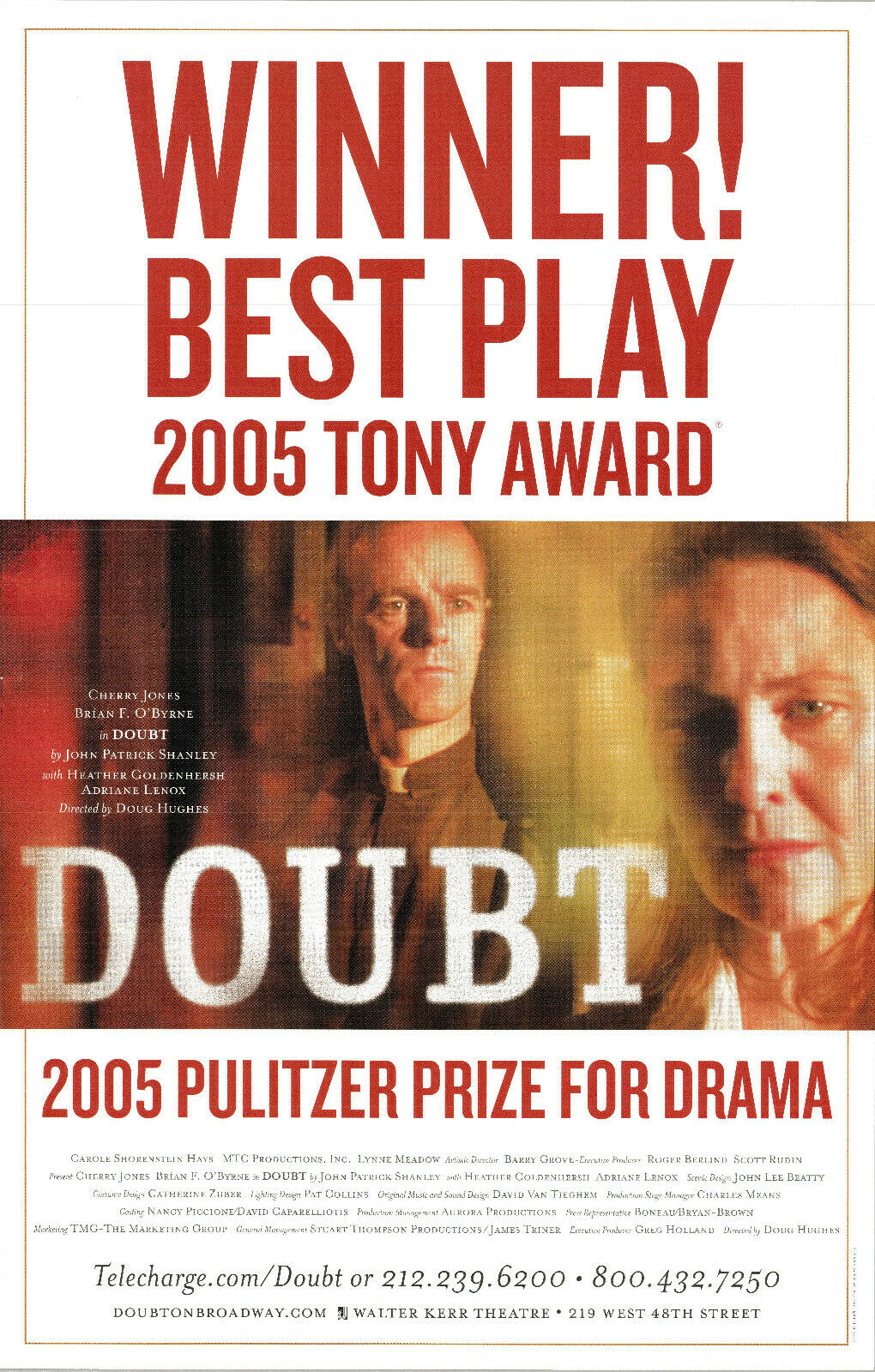 DOUBT ~2004n Broadway Poster~ Brían F O'Byrne ~Cherry Jones~ Adriane Lenox