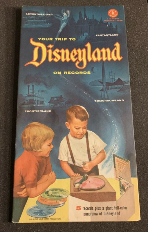 1955 Mattel Trip To Disneyland Records Set Of (5) 78 RPM musical Panorama Map