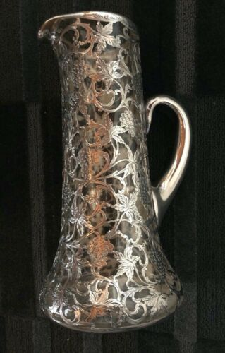 Alvin Sterling  Fine Silver Overlay on Crystal Pitcher /Decanter Circa 1900