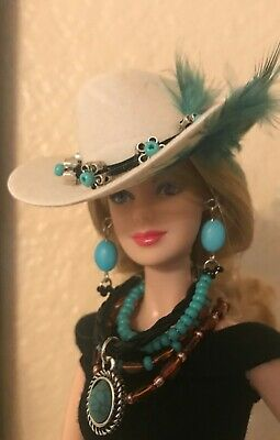 Handmade for Barbie Turquoise Beaded Necklaces and White Feather Cowgirl Hat