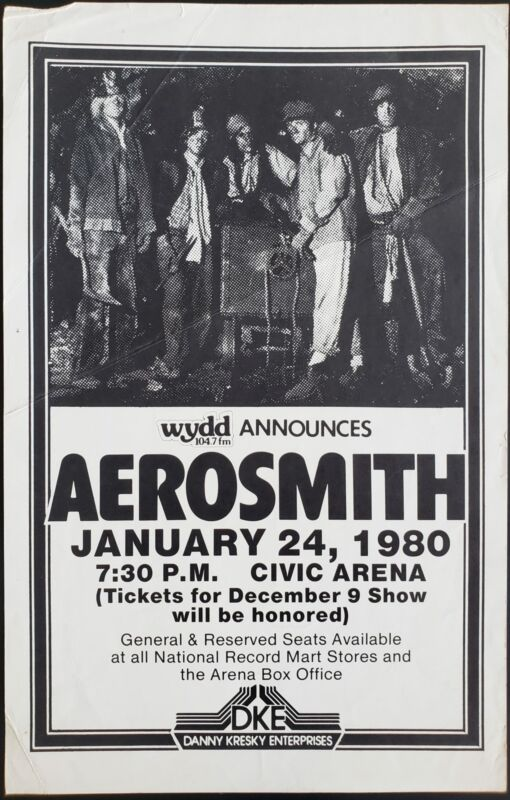 Aerosmith Concert Poster 1980 Night In The Ruts Tour