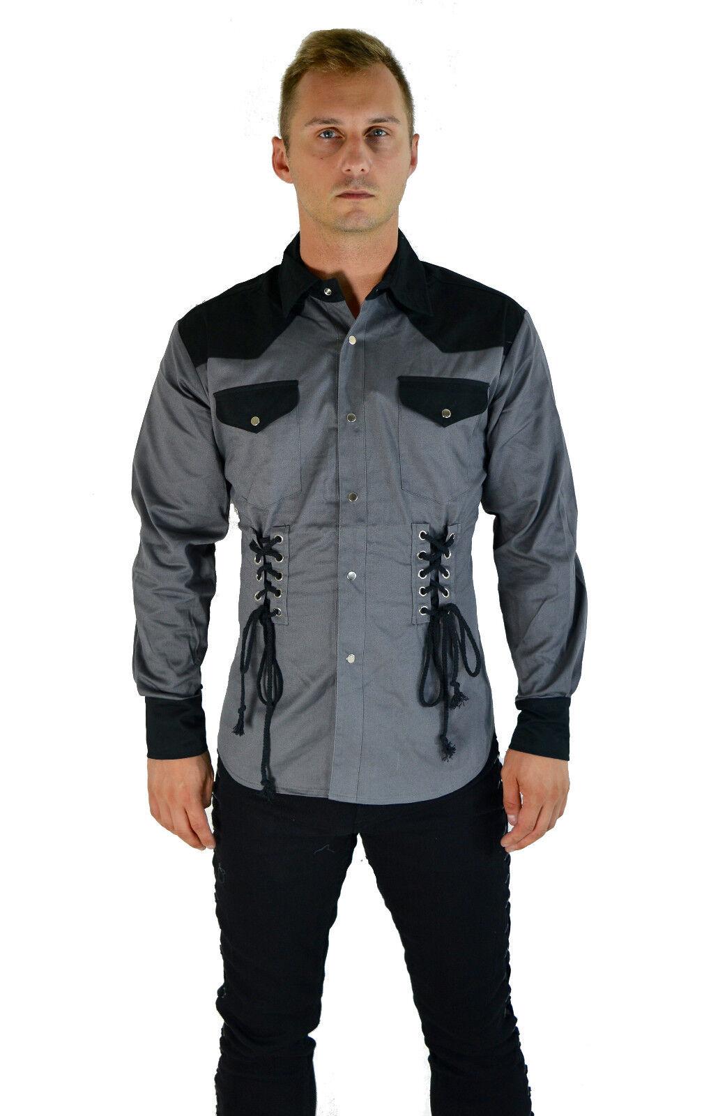 SHRINE GOTHIC CORSET PUNK STEAMPUNK ROCKER FETISH COWBOY GOTH BIKER JACKET SHIRT Casual Button-Down Shirts