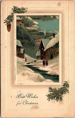 Christmas Best Wishes New Year Postcard Old Vintage Card View Standard (Best New Year Card Wishes)