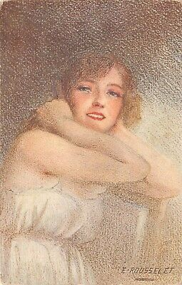 """E Roussele~Lovely Blonde Lady Pulls Back Hair~""""The First Smile""""~Paris"""