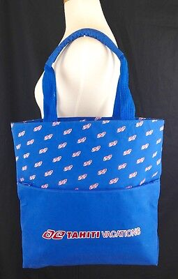 Tahiti Vacations Logo Zippered Travel Beach Tote Bag Double Handles Blue for sale  Shipping to India