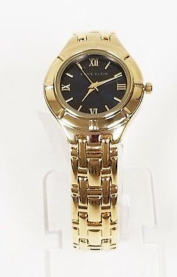 NEW ANNE KLEIN GOLD TONE,BLACK DIAL,ROMAN #'S,BRACELET WATCH AK/2020