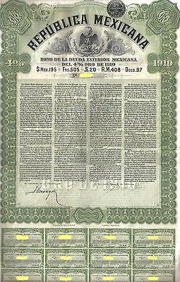 Mexico 4% Bond External Gold Loan 1910 Republica Mexicana £20 coupon Uncancelled