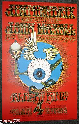 JIMI HENDRIX Rick Griffin Flying Eyeball  BG Fillmore Concert Poster 1968