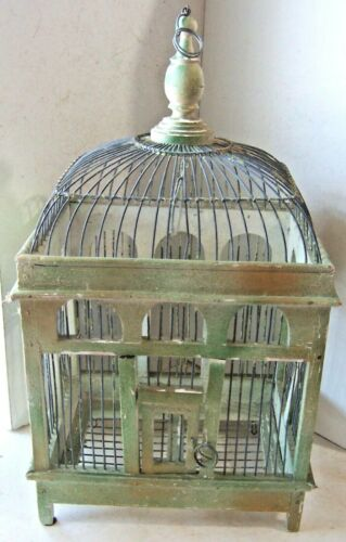 """Antique Vintage Bird Cage Wood Wire Worn Green White Victorian Dome Top 17"""" Tall"""