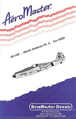 Aeromaster 48-108 Reich Defense Pt.V Fw-190D Decal Sheet