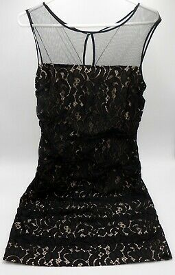 Adrianna Papell Women's Black Tiered Lace Dress Sleeveless W/ Lining Size 10