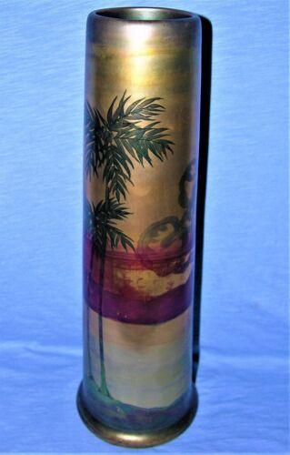 Large Iridescent Weller American Art Pottery LASA Palm Tree & Scenic Vase