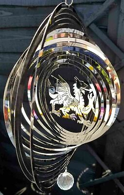 Superb Stainless Steel Wind Spinner - Welsh Dragon Design With Hanging Crystal