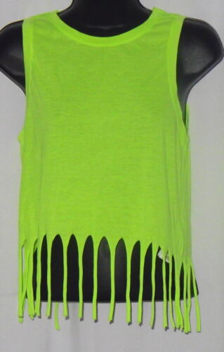 NWT Forever 21 Women's Top Size S Knit Neon Yellow Fringe Summer Beach NEW