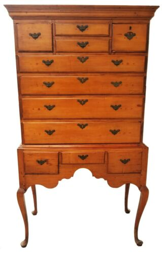 18th C. Queen Anne American Maple New England High Boy Flat Top Chest of Drawers