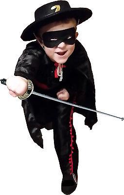 "Zorro ""Z""  Kostüm Edler Retter m. Maske + Degen + Hut + Umhang Gr. M 5 - 6 Jahre"