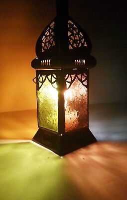 Authentic Moroccan HAND MADE Candle Holder Lantern Carved Frosted Glass Lamp