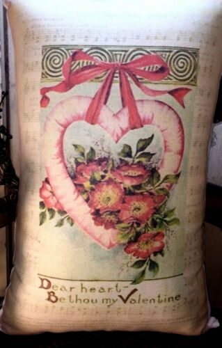 PRIMITIVE VICTORIAN ANTIQUE VINTAGE STYLE VALENTINE POST CARD  HEART LOVE PILLOW