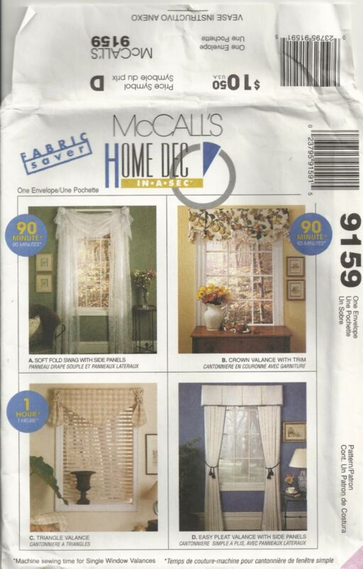 MCCALLS HOME DECO 9159 WINDOW TREATMENTS SEWING PATTERN VINTAGE