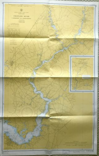 VINTAGE NAUTICAL CHART MAP MD MARYLAND CHOPTANK RIVER CAMBRIDGE to GREENSBORO
