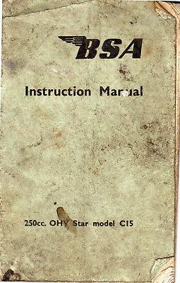 Vintage BSA Model C15 250cc OHV Star Instruction Manual 1959