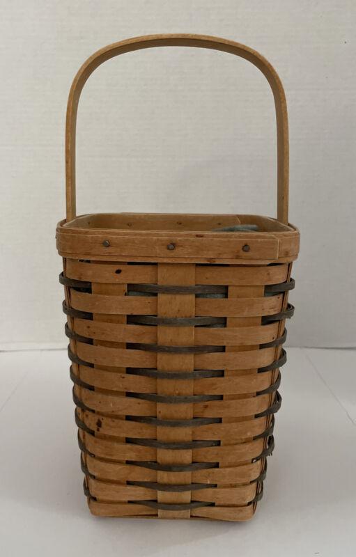 Longaberger 1995 Heartland Large Peg Basket With Plastic Protector #11177