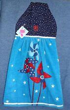 **NEW** Handmade Patriotic Stars /& Pinwheels Hanging Kitchen Hand Towel #1451