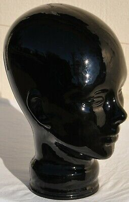 Vintage Black Glass Mannequin Bust Head Hat Wig Scarf Display Stand Antique Old