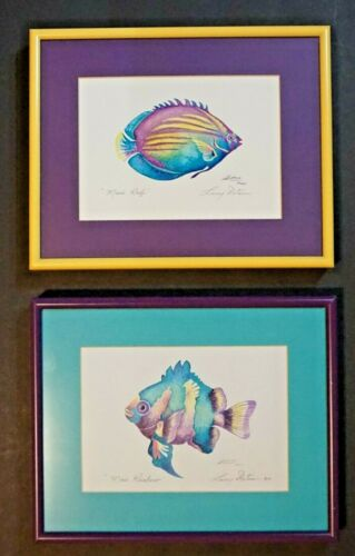 2 Vintage Framed Hawaiian Reef & Rainbow Fish Penciled s/ Larry Dotson Maui 1994