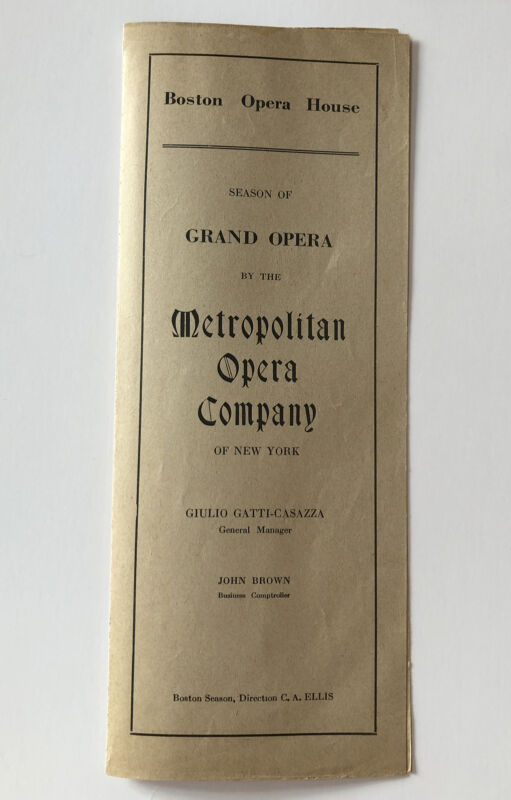 Antique 1916 Boston Opera House Program ENRICO CARUSO in Un Ballo in Maschera