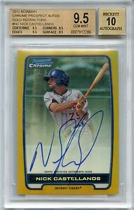 NICK CASTELLANOS 2012 BOWMAN CHROME GOLD REFRACTOR RC BGS 9.5 10 AUTO /50
