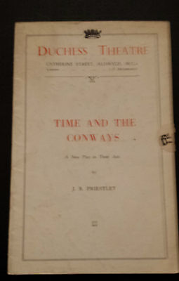 1938 Duchess Theatre programme: TIME AND THE CONWAYS - by J B Priestley