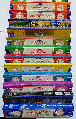 Satya Genuine SATYA SAI BABA - NAG CHAMPA VARIETY MIX 12 X 15G BOXES OF INCENS for sale  Shipping to United States