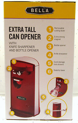 Bella ~ Electric Extra Tall Can Opener ~ Bottle Opener ~ Kni