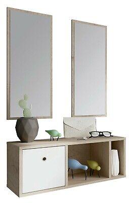 Mueble recibidor moderno 2 espejos blanco y roble 1 cajon entrada 70x28