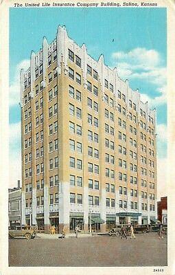 Linen Postcard United Life Insurance Art Deco Building Salina Ks Saline County