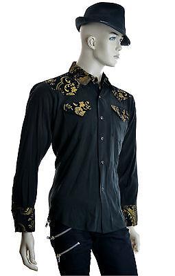 SHRINE GOTH GOTHIC rocker TAPESTRY COWBOY STEAMPUNK WEDDING VICTORIAN SHIRT Casual Button-Down Shirts