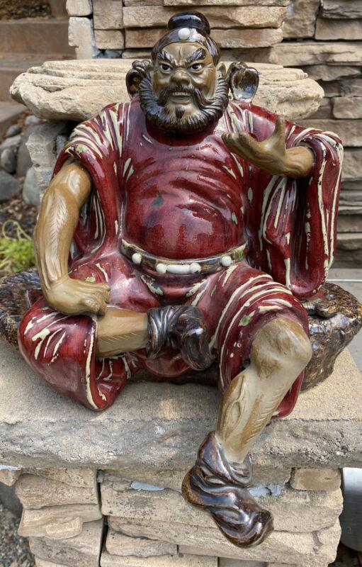 VINTAGE SHIWAN Ceramic Glazed Art Pottery Figurine Chinese Zhong Kui