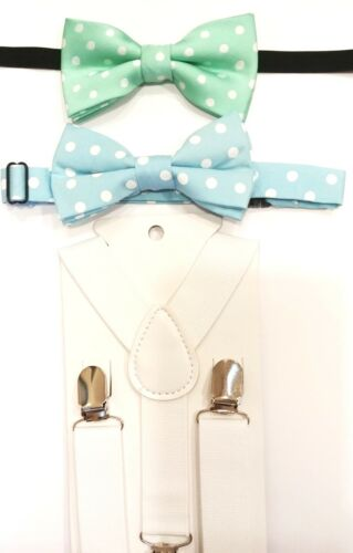 """Two Spring Color Bow Ties & 36"""" White Adjustable Suspenders for Young Boys"""