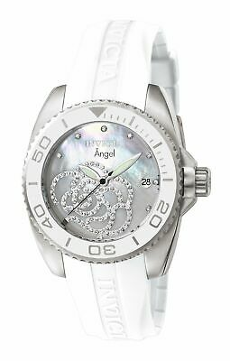 Invicta 0486 Women's Angel Zirconia Accented MOP Dial Rubber Strap Watch