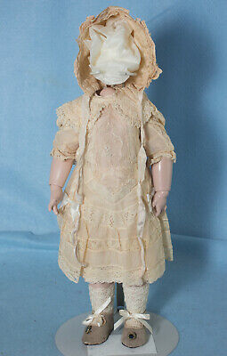 OLD STORE STOCK Lg Doll//Child White Cotton Edge Bonnet w// satin ties
