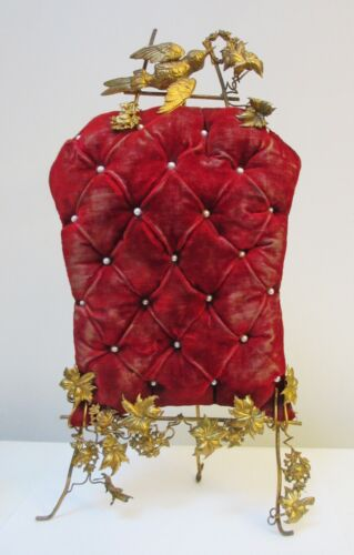 Antique Victorian Standing Pin Cushion Red Velvet Brass