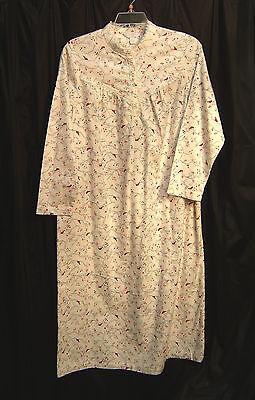 Flanell-nachthemd Kleid (Charter Club Kardinal Vögel Lang Weich 100% Cotton Flanell Nachthemd Abendkleid)