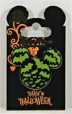 Disney 2017 Happy Halloween Trick or Treat Green Bats Mickey Ears Icon Pin - Happy Halloween Trick Or Treating