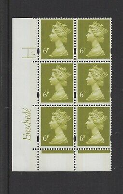 MACHIN  ENSCHEDE 6p  CYL  1 DOT  BRIGHT YELLOW  FLUOR  BLOCK OF 6 MNH