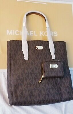 Michael Kors Jet Set tavel Shoulder bag and wallet in brown PVC coated